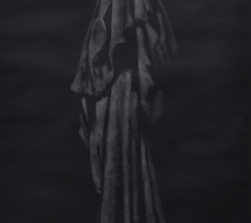 image of Helen Barff's artwork of a dress she wore to her father's funeral, drawn in graphite dust