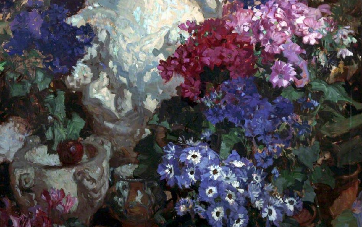 An image of 'Cinerarias' a painting by Frank Brangwyn (1867-1956)